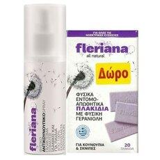 POWER HEALTH Fleriana Spray 100% Φυσικό Αντικουνουπικό 100ml + ΔΩΡΟ Φυσικά Εντομοαπωθητικα Πλακίδια 10 tabs