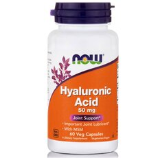 NOW FOODS Hyaluronic Acid 50mg with MSM 450mg 60Vcaps
