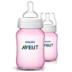 AVENT Πλαστικά Μπιμπερό Classic+ Ροζ από τον 1ο μήνα  2τμχ 260ml SCF564/27