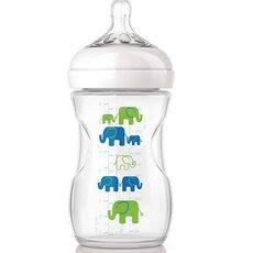 AVENT Πλαστικό Μπιμπερό Natural με Σχέδιο Ελέφαντα,Θηλή αργής ροής 1+ μηνών 260ml SCF627/17