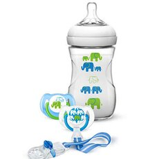 AVENT Σετ Δώρου Elephant για Αγόρια με Πλαστικό μπιμπερό Natural 260ml, 2 πιπίλες κι 1 κλιπ πιπίλας SCD627