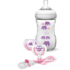 AVENT Σετ Δώρου Elephant για Κορίτσια με Πλαστικό μπιμπερό Natural 260ml, 2 πιπίλες κι 1 κλιπ πιπίλας SCD628