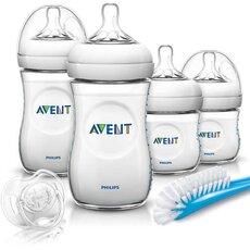 AVENT Αρχικό Σετ για Νεογέννητα με 2 Μπιμπερό Natural 4oz και 2 Μπιμπερο Natural 9oz,Βουτσάκι Καθαρισμού και Πιπίλα 0-6 μηνών