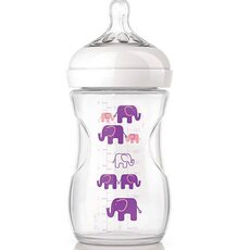 AVENT Πλαστικό Μπιμπερό Natural με Σχέδιο Ροζ Ελέφαντα,Θηλή αργής ροής 1+ μηνών 260ml SCF628/17
