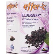 NOW FOODS Effer-C Elderberry (Iodine free- Sugar free) Vegeterian Αναβράζον Συμπλήρωμα Διατροφής 30packs