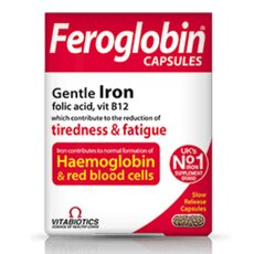 VITABIOTICS Feroglobin Gentle Iron Capsules Συμπλήρωμα Σιδήρου, Φυλλικού Οξέος 30caps