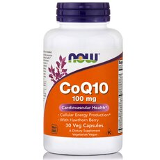 NOW FOODS CoQ10 100mg w/ Hawthorn Berry Vegeterian 30Vaps