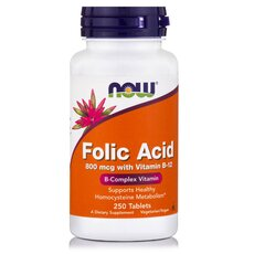 NOW FOODS Folic Acid 800mcg w/ Βιταμίνη Β-12 25mcg 250Vtabs