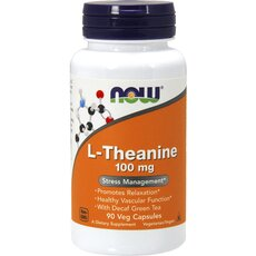 NOW FOODS L-Theanine 100mg w/ Green Tea 90Vcaps