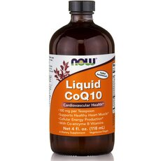 NOW FOODS CoQ10 100mg, Orange Flavor Liquid Vegeterian 4 Oz 118.3ml