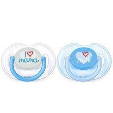 AVENT Μοδάτες Πιπίλες Σιλικόνης με Σχέδιο 0-6 μηνών Αγόρι Ορθοδοντική και χωρίς BPA 2τμχ SCF172/51