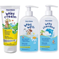 FREZYDERM Πακέτο Προσφοράς Baby Cream 175ml + Baby Bath 300ml + Baby Shampoo 300ml