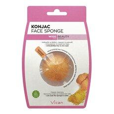 VICAN Wise Beauty KONJAC Face Sponge Ginger Powder Σφουγγάρι Καθαρισμού Προσώπου 1τμχ