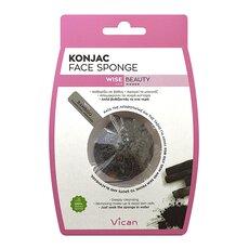 VICAN Wise Beauty KONJAC Face Sponge Bamboo Charcoal Powder Σφουγγάρι Καθαρισμού Προσώπου 1τμχ