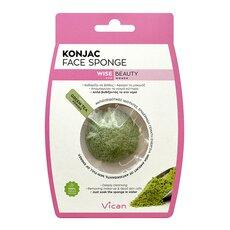 VICAN Wise Beauty KONJAC Face Sponge Green Tea Powder Σφουγγάρι Καθαρισμού Προσώπου 1τμχ