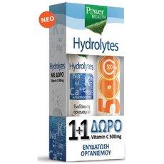 POWER HEALTH 1+1 Πακέτο Hydrolytes Ηλεκτρολύτες 20 Αναβράζοντα Δισκία & Δώρο Βιταμίνη C 20 Αναβράζοντα Δισκία 500mg