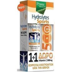 POWER HEALTH 1+1 Πακέτο Hydrolytes Sport Ηλεκτρολύτες 20 Αναβράζοντα Δισκία & Δώρο Βιταμίνη C 20 Αναβράζοντα Δισκία 500mg