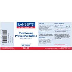 LAMBERTS Pure Evening Primrose Oil 1000mg Συμπλήρωμα με Γ-Λινολεϊκό οξύ (GLA) για Γυναίκες στην Εμμηνόπαυσης 90 caps, fig. 2