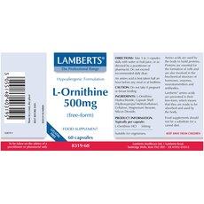 LAMBERTS L-Ornithine 500mg Ορνιθίνη 60 Κάψουλες, fig. 2