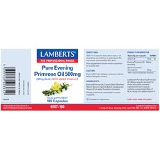 LAMBERTS Pure Evening Primrose Oil 500mg (Ωμέγα 6) Συμπλήρωμα με Γ-Λινολεϊκό οξύ (GLA) για Γυναίκες στην Εμμηνόπαυσης 180 Κάψουλες, fig. 2