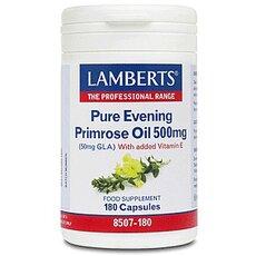 LAMBERTS Pure Evening Primrose Oil 500mg (Ωμέγα 6) Συμπλήρωμα με Γ-Λινολεϊκό οξύ (GLA) για Γυναίκες στην Εμμηνόπαυσης 180 Κάψουλες