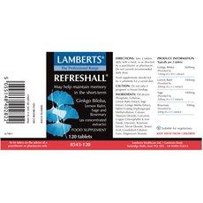 LAMBERTS Refreshall® Σύμπλεγμα με Gingko, Βάλσαμο λεμονιού, Φασκόμηλο και Δεντρολίβανο για την Ενίσχυση της Μνήμης 120 Ταμπλέτες, fig. 2