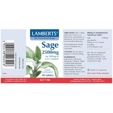 LAMBERTS Sage 2500mg Φασκόμηλο για την Διατήρηση της Μνήμης και την μείωση των Συμπτωμάτων Εμμηνόπαυσης 90 Ταμπλέτες, fig. 2