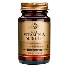 Solgar Vitamin A 5000IU Όραση, Νύχια, Μαλλιά-Αναπνευστικές Μολύνσεις 100 Tablets, fig. 1