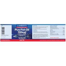 LAMBERTS Pure Fish Oil 1100mg Συμπλήρωμα Ιχθυελαίων για Καρδιά, Αρθρώσεις, Δέρμα & Εγκέφαλο 180 Capsules, fig. 2